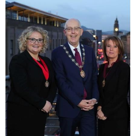The photo includes from left to right: Suzanne Rice - Senior Vice-President, Rowan White - President, Brigid Napier - Junior Vice-President