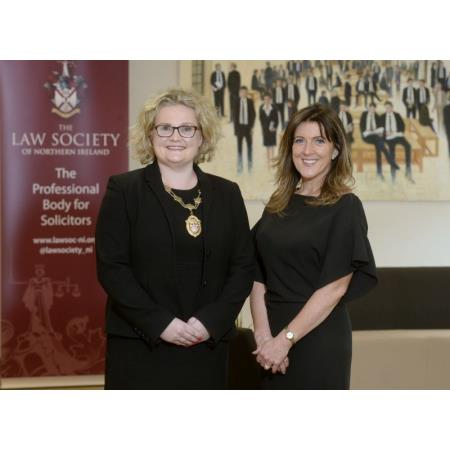 The President of the Law Society, Suzanne Rice and Louise Smyth, Manging Director of MCS Group