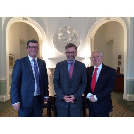 John Guerin, President, Lord Dunlop,Parliamentary Under Secretary of State at the NI Office and Alan Hunter, Chief Executive