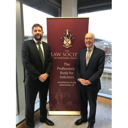 Ian Keith, Managing Director was welcomed to Law Society House by President Rowan White