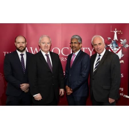 Gary Adair, solicitor,The Rt Hon Sir Declan Morgan, Lord Chief Justice of Northern Ireland, CLA President, Brian Speers, Mr Justice Vasheist Kokaram, High Court, Trinidad and Tobago