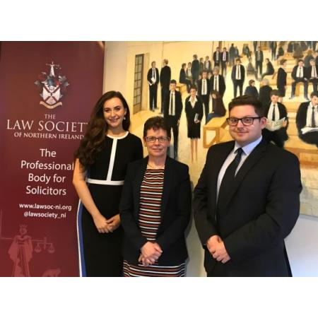 Congratulations to Amira Graham and Ross White from the Institute of Professional Legal Studies (IPLS) who have won the @LawSociety_NI  Client Consultation Competiton 2020. Pictured with Ruth Craig, s
