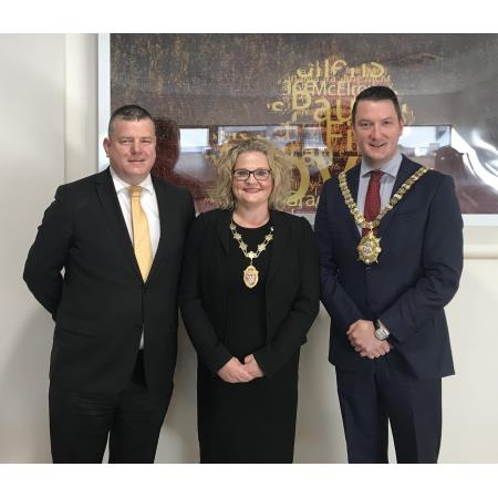 President Suzanne Rice joined Niall Murphy, KRW Law and John Finucane, Lord Mayor of Belfast