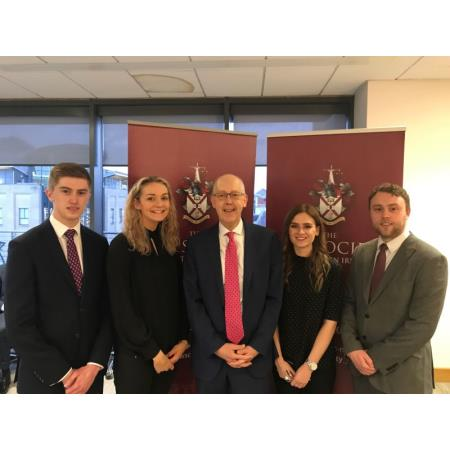 Rowan White, President joined by new apprentices