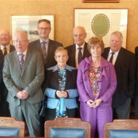 (L to R): Brendan Agnew, Lex Ross, Sean  O'Neill, Michael O'Kane, the President, Monica Davey, James McFarland, Eimer  Cleland, Derek Tughan, Richard Wilson and Alan Hewitt.