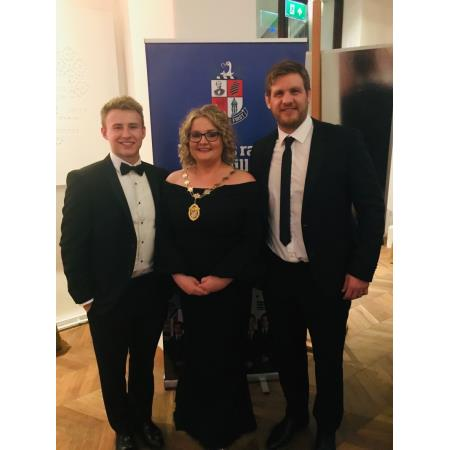 Pictured are alumni's Chris Henry and Jonathan Stewart from Ulster Rugby alongside the President
