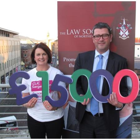 Nadine Campbell, Fundraising Manager from CLIC Sargent with John Guerin, President of the Law Society of Northern Ireland