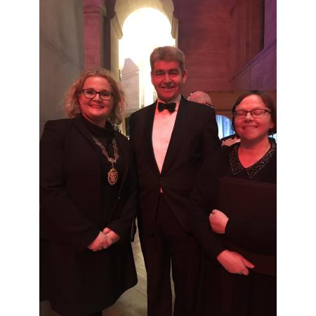 President Suzanne Rice pictured alongside District Judge John Meehan at the Pro Bono Carol concert at St.Annes Cathedral in Belfast.