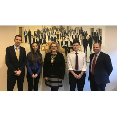 Niall Hargan (Competition Judge), Nikita Short (UU), Suzanne Rice, President of the Law Society, Cole Thomas Johnston (UU) and Colin Mitchell (Competition Judge)