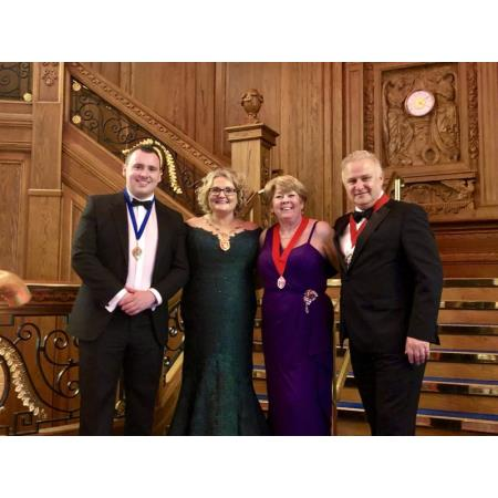 Chris Kinney, Chair of the NIYSA, President Suzanne Rice, Eileen Ewing, SVP and Chair of the BSA, Enda Lavery at the BSA Dinner on 8th June 2019 in the Titanic Centre in Belfast.
