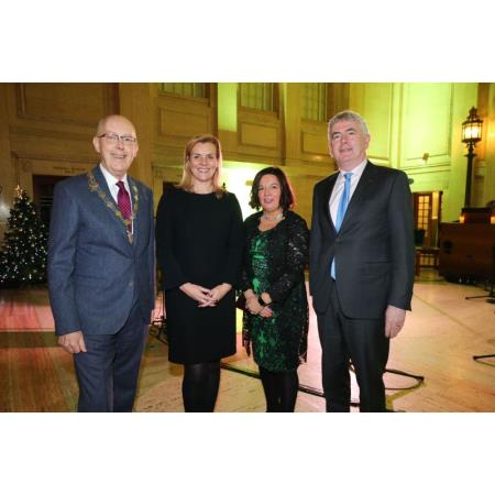 Rowan White, President of LSNI, Sarah Ramsey, Chair of the Bar, Master Noreen Sweeney and Mr Justice Colton