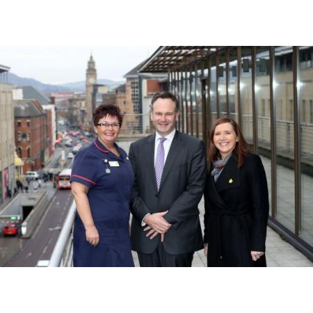 Marie Curie Hospice Lead Nurse Cindy Anderson, President of the Law Society of Northern Ireland, Ian Huddleston Ciara Gallagher, Head of Regional Partnerships & NI Fundraising.