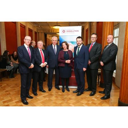 Brian Dolaghan, Invest NI, Alan Hunter, Law Society Chief Executive, Brian Speers, DRS Chair, Anne Beggs, Invest NI, Colum Eastwood MLA, Ian Huddleston, President & Michael Bready Mediator/Barrister