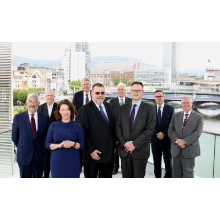 From left to right Claudio Visco, chair of IBA ,Anne Beggs Invest NI ,Mark Ellis, IBA, Martin Solc, President of IBA ,Liam McCollum QC Chair of Bar of Northern Ireland , Ian Huddleston, President,  La