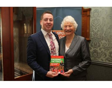 Ciaran Kearney from NI Sports Forum and Lady Mary Peters launching her new book Passing the Torch