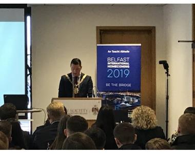 John Finucane, Lord Mayor of Belfast and solicitor welcoming delegates and speakers to Legal Symposium 2019.
