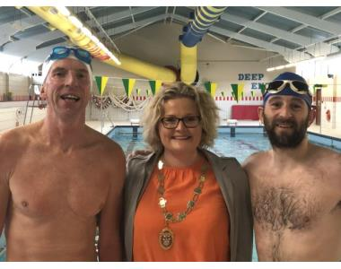 peter Jack, Suzanne Rice, President and Ivan Feran at the end of the swim challenge