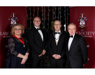 Suzanne Rice, Senior Vice President, Mr Justice Huddleston, Rowan White, President and David Lavery Chief Executive of the Law Society