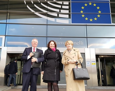 Alan Hunter, Chief Executive of the Law Society of Northern Ireland, Helena Raulus, Head of the LS Brussels office & President Eileen Ewing, Law Society of Northern Ireland