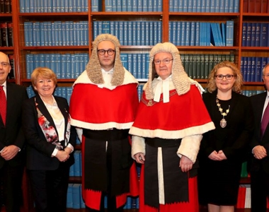 Rowan White, Junior Vice President, Eileen Ewing, Senior Vice President, The Honourable Mr Justice Huddleston, Lord Chief Justice, Suzanne Rice, President and Alan Hunter Chief Executive