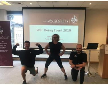 President, Suzanne Rice joined Ian Black and Jonny Rowan for an Exercise Class as part of the Well Being Day