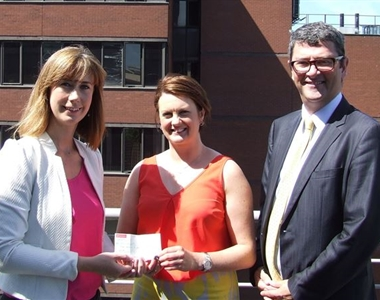 RoisAine Hamill,  Nadine Campbell from CLIC Sargent, President John Guerin