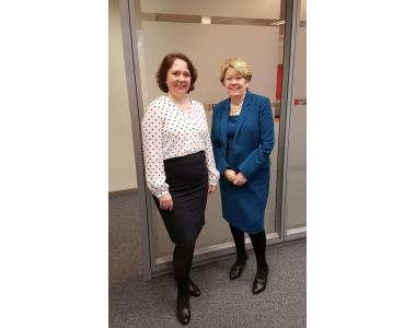 President, Eileen Ewing meeting with Helena Raulus, the Head of the LS Brussels office