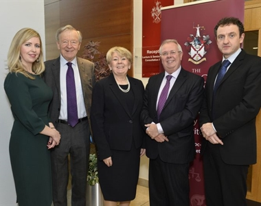 Maria McCloskey Chair of IPG, Lord Dubs, Eileen Ewing, President of LSNI, Alan Hunter, CEO and Professor Colin Harvey