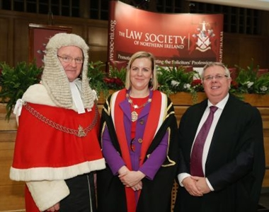 left to right - the Lord Chief Justice for Northern Ireland, Sir Declan Morgan, President Arleen Elliott and the Registrar of Solicitors, Alan Hunter
