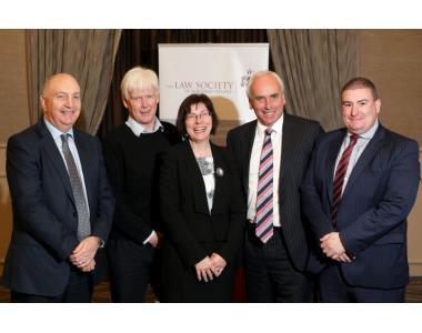 (L to R): Alan Reid, Gilbert Nesbitt, Madam Justice McBride, Brian Speers and Darren Rainey
