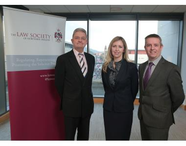 Mr Justice McCloskey, IPGNI Chair Maria McCloskey, John Mackell, Law Society of Northern Ireland