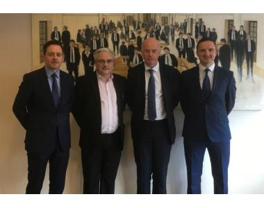 Pictured L-R, Paddy Mullarkey, Chair CPNG, Paul Andrews, LSANI, Mr Justice McAlinden, Mark Harvey, BSO