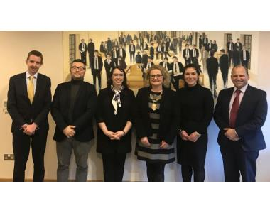 Niall Hargan (Competition Judge), Alessandro Corda (Coach), Melanie Hayes (QUB), Suzanne Rice, President of the Law Society, Emelie Pepito (Queens) and Colin Mitchell (Competition Judge)