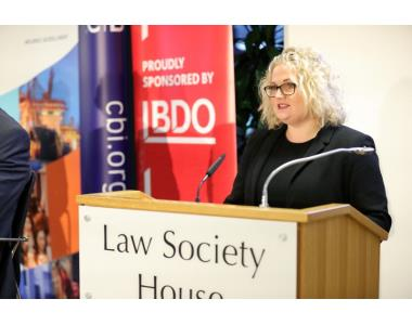 Suzanne Rice, President of Law Society of Northern Ireland speaking at the opening CBI NI hustings event