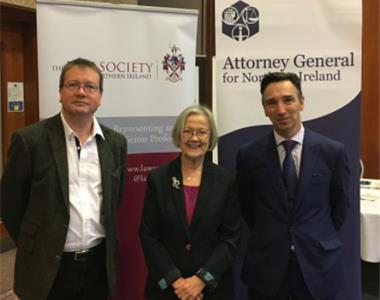 left to right - John Larkin, Attorney General, Lady Hale and Richard Palmer, Law Society