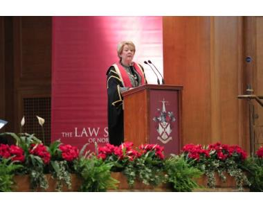 President, Eileen Ewing giving her key note address at the Admissions Ceremony 2018