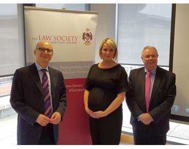 In the photo - Andrea Coscelli, Chief Executive of the Competition and Markets Authority (CMA), Micaela Diver, Partner, Litigation and Dispute Resolution, AL Goodbody Belfast and Alan Hunter, Chief Ex