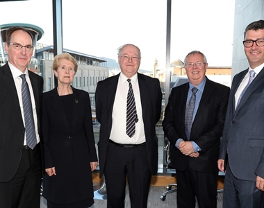 Mr Justice O'Hara, Judge Gemma Loughran & Michael Long QC, Alan Hunter Chief Executive of the Law Society and John Guerin at the launch of the new book.