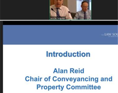 Alan Reid and Simon Murray socially distancing during their presentations