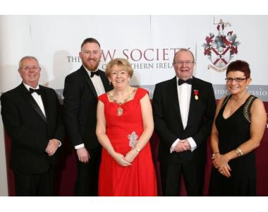 Alan Hunter, CEO the Law Society of Northern Ireland, David Cairns, Eileen Ewing, President of the Law Society of Northern Ireland, Joe Donnelly and Mary Murnaghan