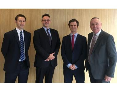 Stephen Beattie, Allen & Overy, Ian Huddleston, President of LSNI, Andrew Bennett, Allen & Overy, Michael Robinson, Head of United Kingdom Delegation to Council of Bars and Law Societies of Europe