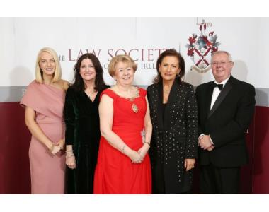 L-R, Meghan Kirk, Pinsent Masons, Elizabeth Birrell, Stewart Title, Eileen Ewing, President Law Society, Presiding District Judge Brownlie and Alan Hunter, Chief Executive of the Law Society