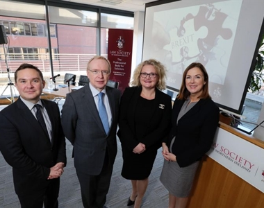 John Campbell, BBCNI, David Lavery CB, Chief Executive, Law Society of Northern Ireland, Suzanne Rice, President, Law Society of Northern Ireland,& Angela McGowan,CBI NI