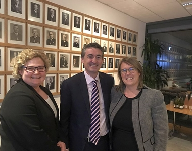Melanie Rice, Brian Keegan and Madam Justice Keegan at the wine tasting evening