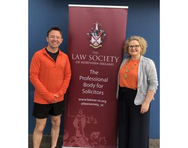 Adam Wood and Suzanne Rice President of Law Society at the start of the iron law challenge