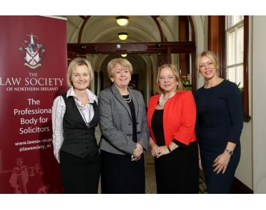 Julie Starr, Mentoring expert, Eileen Ewing, President of the Law Society, Imelda McMillan, Chair of Women in Business, Claire Harvey, Managing Director of Reed Recruitment
