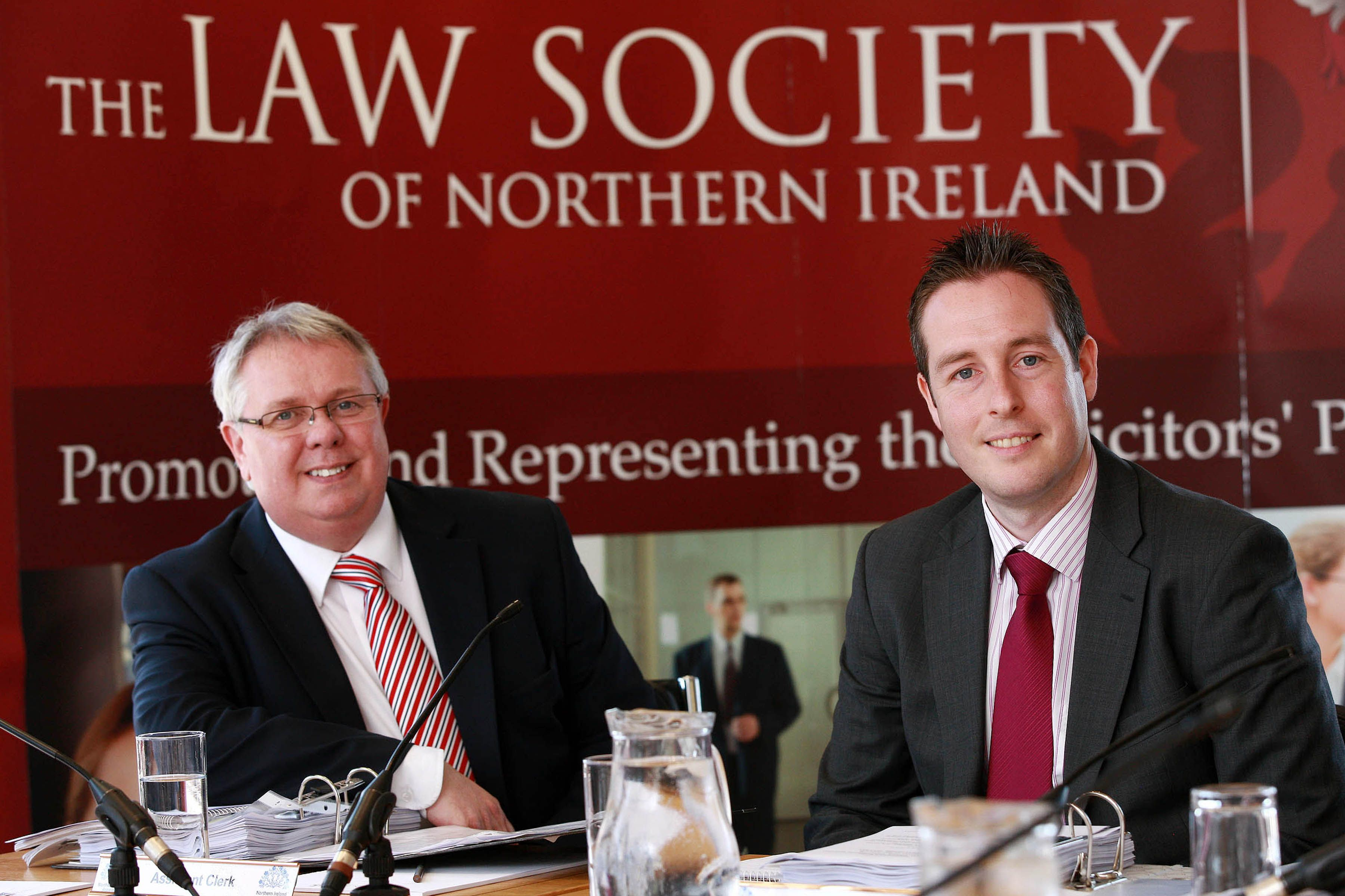 Alan Hunter Chief Executive with Paul Givan, Chair of the Committee for Justice